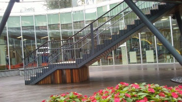 Patio exterior de la biblioteca