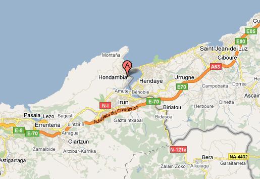 mapa de la N-I a su paso por Hondarribi