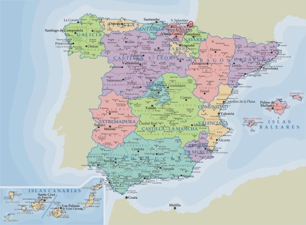 Irún situada en el mapa de España