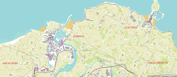 Mapa de Zumaia y alrededores