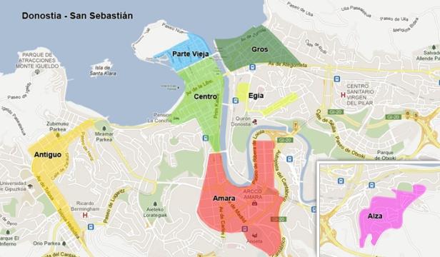 Mapa de Donostia