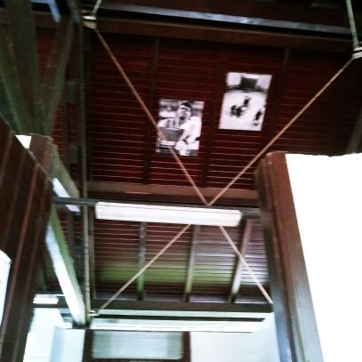 """Imágenes del """"harrijasotzaile"""" Izeta II en el techo del baño del Camping de Talaimendi"""